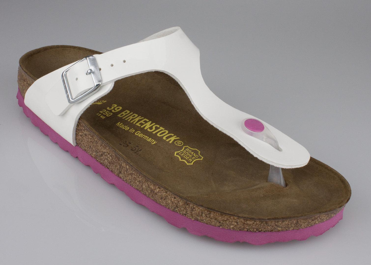 41444a87525d59 Birkenstock 0345083 GIZEH narrow slippers Birko-Flor lack white-pink