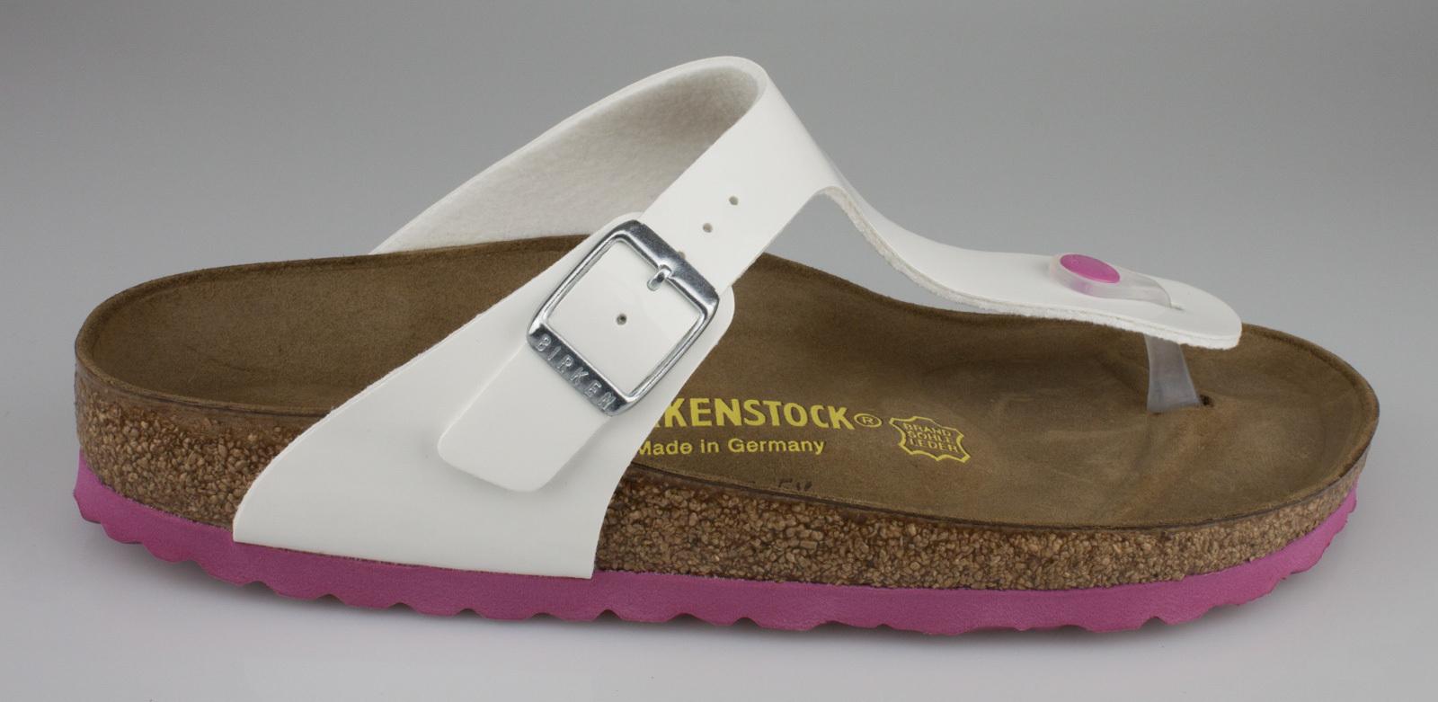 8220b6fffa085e Birkenstock 0345083 GIZEH narrow slippers Birko-Flor lack white-pink ...