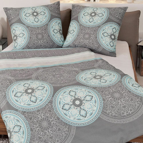 Janine 9003-02 MOMENTS Mako-Satin Bettwäsche Set Ornament blau/grau 240/220
