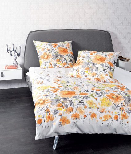 Janine 98021-04 MOMENTS Bettgarnitur Mako-Satin orange/gelb/grau 240/220