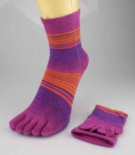 LetzGo 5 FINGER Zehensocken fuchsia-orange gestreift