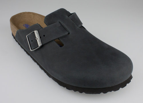 Birkenstock 1002587 BOSTON schmal SFB Slipper leder nubuk black