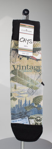 CAYS men 2600-11 VINTAGE AIRPLANE Socken schwarz 41-46