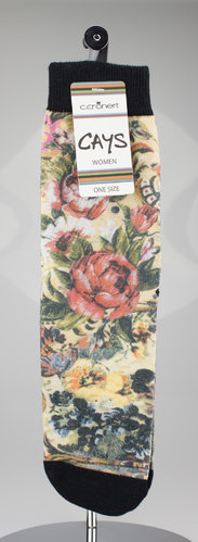 CAYS women 1600-16 FLOWERS STILL LIFE Socken schwarz 36-40