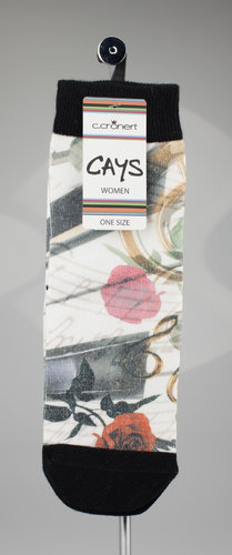 CAYS women 1600-17 ROSES & NOTES Socken schwarz 36-40