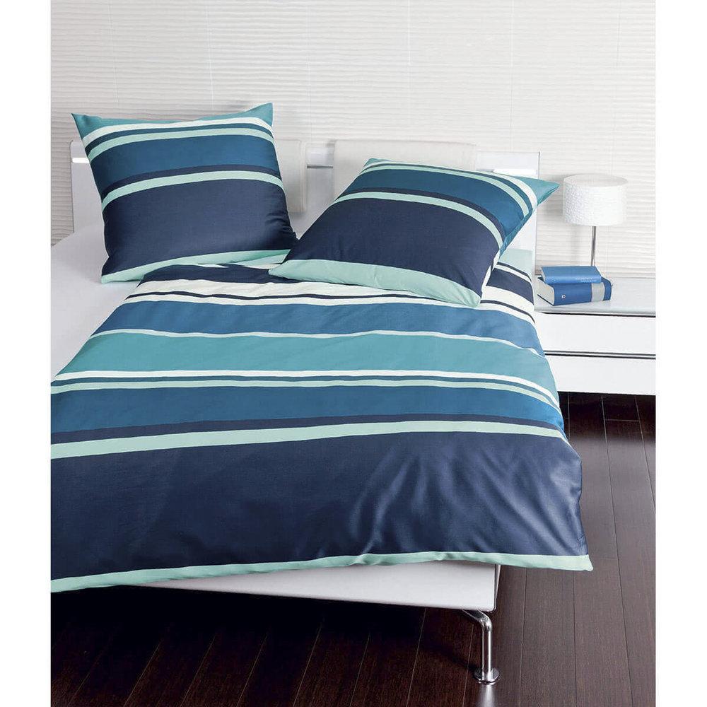 Janine 87010 02 Jd Mako Satin Bettwäsche Set Streifen Quer Blau