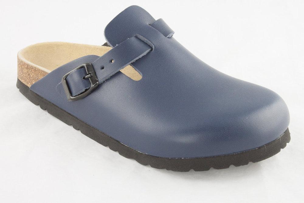 best website 37f59 63ee0 Birkenstock 160153 BOSTON Slipper geschlossen schmal Leder glatt blau