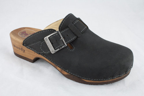 Woody 6526 MANU Clogs crazy horse/nero