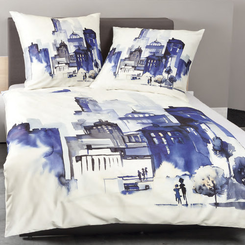 Janine 42025-02 MODERN ART AQUA CITY Bettwäsche Set Mako-Satin blau 135/200