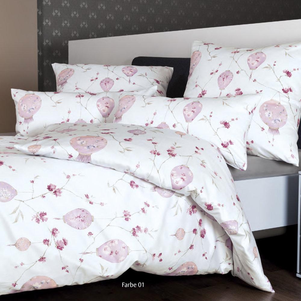 e0eb359148352d Janine 43058-01 MESSINA LAMPIONS bed linen set Mako-Satin kamee rose/silver