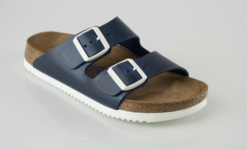 Birkenstock 230176 ARIZONA schmal SFB Slipper Naturleder blue/white