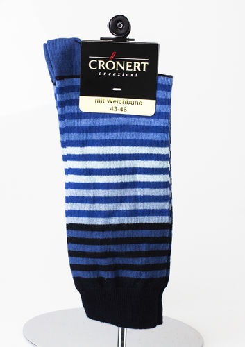 Crönert 26501-1860 STRIPES Herrensocken Baumwolle kobalt