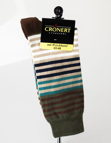Crönert 26501-2133 STRIPES Herrensocken Baumwolle olive