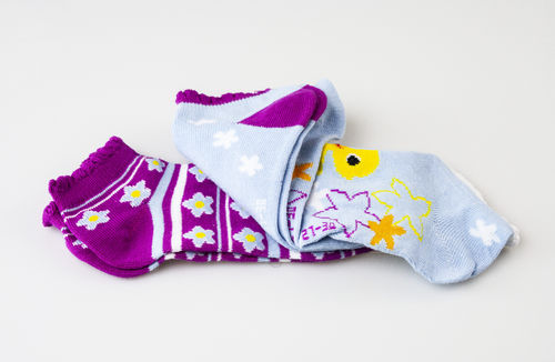 Calze 3/182400 DUCK FLOWERS Sneakersocken f. Kinder Baumwolle-Polyester 3er Pack rosa-blau mix