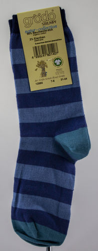 Grödo 12880 Organic Cotton Socken Blockringel marine/denim/jeans